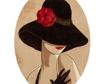 20x30mm, woman, Black Hat, red flower