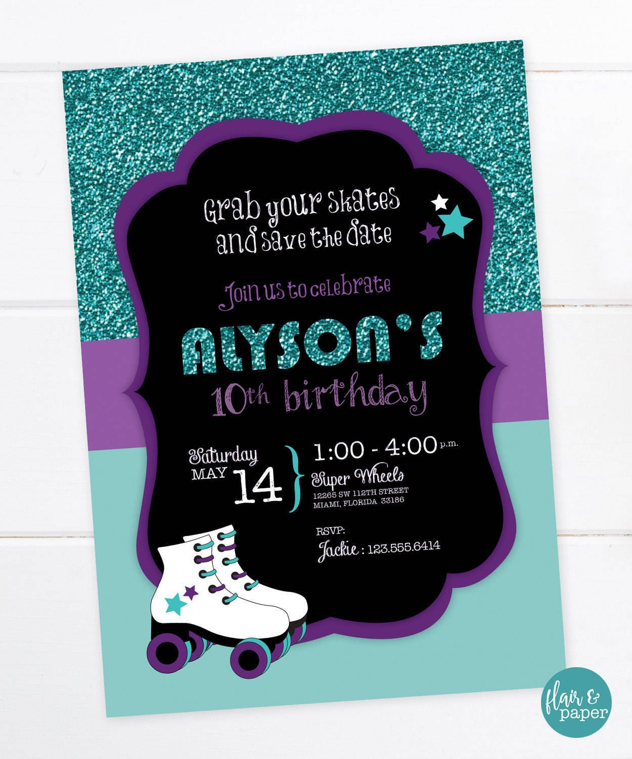 Rollerskate Party Invitation Roller-skate Birthday Roller