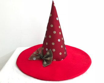 Mickey Mouse hat. Disney inspired hat. Red dots hat. Red witch hat. Red and gold dots hat. Halloween red hat.