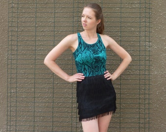Black and green dress, fringe dress, snakeskin print dress, party dress, elastic dress, sleeveless dress, upcycled dress, ecofriendly dress