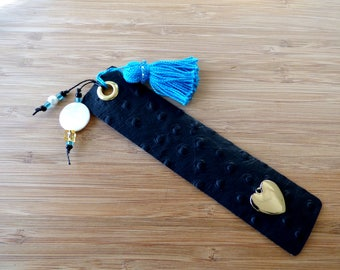 Leather Bookmark with Tassel, Beads and Heart.