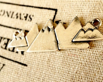 Mountain range 2 silver charms vintage style jewellery supplies C311