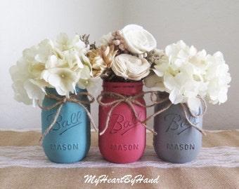Distressed Mason Jar Centerpieces, Country Western, Farmhouse ,Rustic Pint Size Mason Jars, Nursery, Wedding, Baby Shower, Kitchen Decor