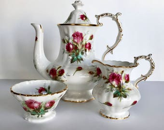 Hammersley Coffee Pot, Creamer, Sugar, Tea Set Grandmother's Rose Pattern