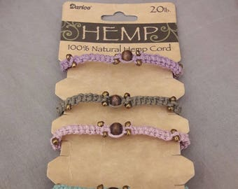 Hemp bracelets handmade by myself.