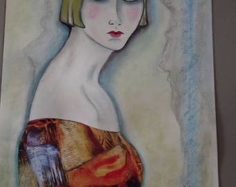 Frederique pastel on paper drawing