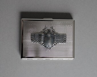 Scarab Beetle Cigarette Case Beettle Metal Wallet Cigarette Metal Wallet Casee Scarab Beetle Business Card Case Steampunk Style