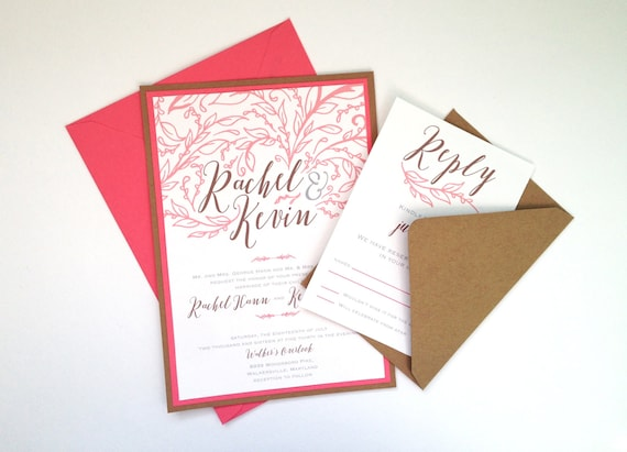 Flourish Wedding Invitations: Hand Drawn Flourish Wedding Invitations In Coral