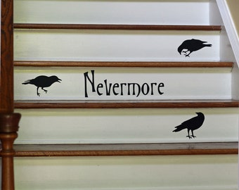 Halloween Decor Wall Decal Nevermore Ravens Vinyl Silhouettes Stair Decal Removable Reusable