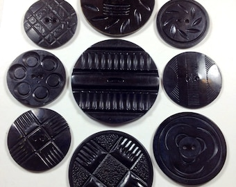 Vintage Black Art Deco Wafer or Disc Celluloid Buttons, Pressed, Carved, Laminated Buttons, Button Lot 177
