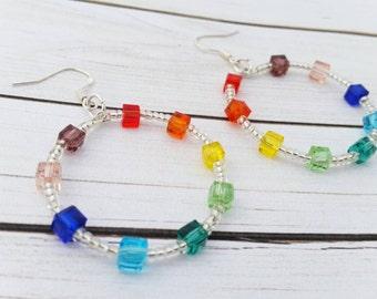 Rainbow Jewelry, Beaded Earrings, Chakra Jewelry, Dangle Hoop Earrings, Colorful Earrings, Rainbow Gifts, Chakra Earrings, LGBT Jewelry