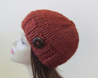 Chunky Knit Hat Winter Hat Chunky Knit Beanie Womens Hat Teens Hat - Spice with  Button Accent  - Ready to Ship - Gift for Her