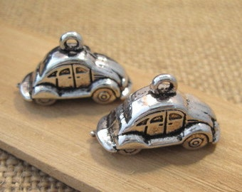 Beetle Car Charms in Antique Silver - 2 Count