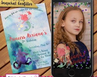 Princess Watercolor Invitation and matching Snapchat Geofilter, Princess Arial Invitation and Geofilter, Little, Mermaid, Mermaid Geofilter