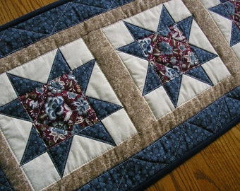 Quilted Table Runner, Navy Blue and Burgundy Table Runner, Quilted Stars Runner, 14 x 50 inches