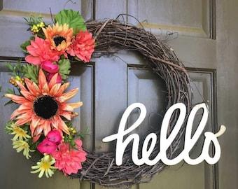 Floral Wreath, grapevine wreath, summer wreath, spring wreath, bright colorful wreath
