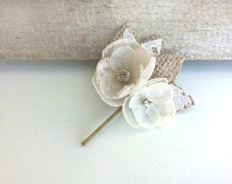 Burlap Hair Piece, Bridal Flower Hair Clip, Ivory Flower Lace Bridal Headpieces, Rustic Wedding Hair Accessories Bridesmaid Flower Girl Pins