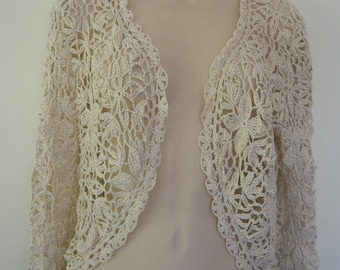 SHIPPING offered white crochet Bolero