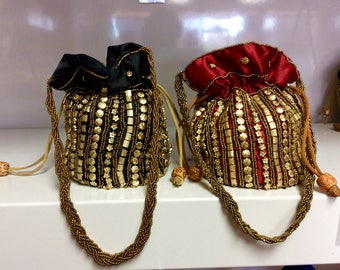 Sale Potli bag Bollywood style wedding party bags handmade beades wristlet beads