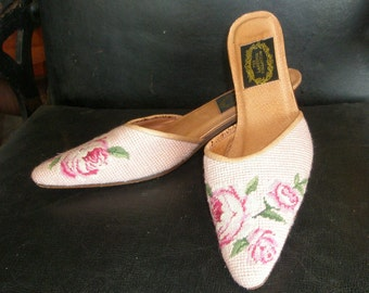 The LARKSPUR COLLECTION Petit Pointe Embroidered Mules ~ Kitten Heels ~ Pink with Embroidered Roses