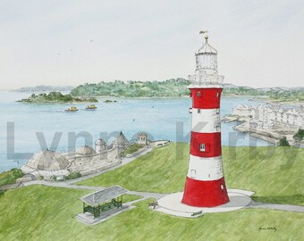 Plymouth Hoe Lighthouse Smeaton's Tower Devon England Seascape Art Print