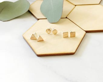 Simple Shapes, Support Education, studs, earrings, posts, triangle, square, round, circle, minimal, under 20, gift, gold, brass, sterling