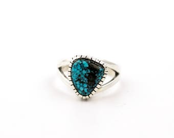 Contemporary Kingman Spiderweb Turquoise Ring by Turquoise Kingdom