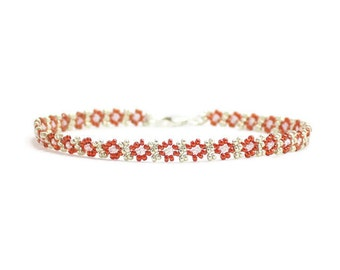 Beaded Anklet - Chain Ankle Bracelet - Orange Summer Anklet - Seed Bead Beach Jewelry - Burnt Orange Foot Jewelry