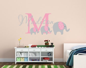Elephant Name Decal Elephants Nursery Decor   Kids Room Teen Name Vinyl Wall  Decal Elephant Decal