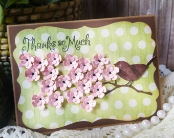 Thank you Card,  Handmade Greeting card, Pink floral card, Floral card, Thanks so much card, Pink Flowers, Thanks so much