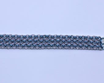 Silver and Sky Blue Helm Weave Cuff Chainmaille Bracelet