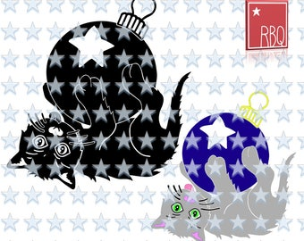 Cat Ornament Kitty Cats playful Ball Christmas Holiday Star Christmas Cut Digital Download SVG dxf EPS Jpeg PNG pdf Vector commercial use