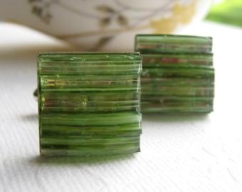 Boutons de manchette en péridot clair bijoux en verre teinté vert boutons de manchette pour homme Eco Friendly accessoires carré argent bijoux de mosaïque pour le marié