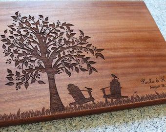 Personalized Cutting Board, Retirement Gift, Adirondack Chairs, Custom Cutting Board, Chopping Block, Wedding Gift, New Home, Engagement