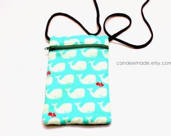 Cute Mint Whale patterned zip bag, compact portable shoulder bag. Cell phone pouch 11.5cm x 17.5cm.