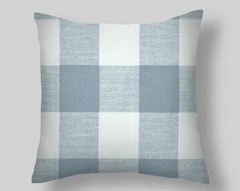 Pillow, Blue Buffalo Check Pillow ,  Pillow Cover.