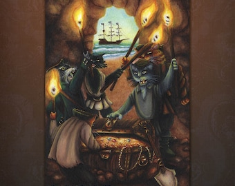Pirate Cats Treasure Island Cove Nautical 5x7 Art Print