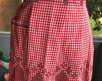 Vintage Half Apron in Gingham with Cross-stitch design