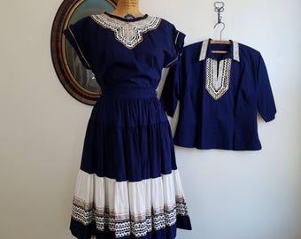 Vintage 1950s patio dress set | 50s southwestern ric rac 3 piece |
