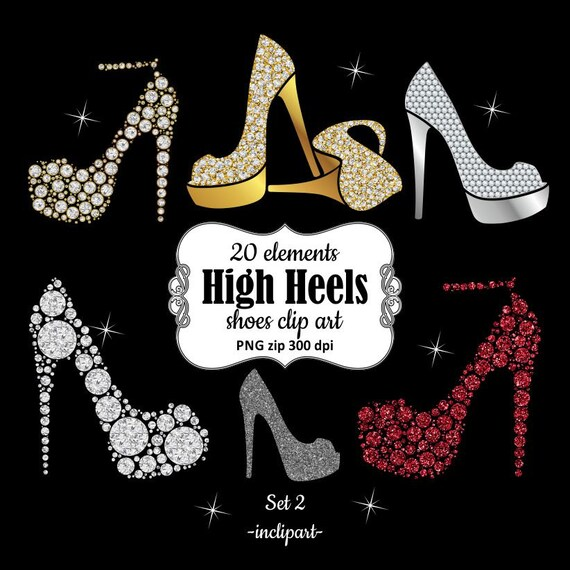 Shoe Clipart. Ladies Girls Bridal High Heels Clipart