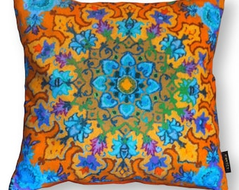 Sofa pillow orange blue velvet cushion cover MARIGOLD
