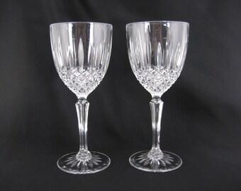 Crystal Glass Wine Glasses Pair, Set of 2 Vintage Toasting Goblets Brilliant Cut Art Deco Cristal D'Arques 8 oz Drinking Stemware Long Stem