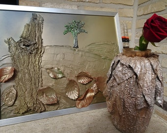 Landscape Nature Spirit Leaves,Fall Autumn Wall Decor 3D Paint