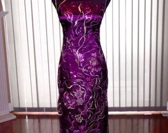 Chinese cheongsam, Wedding Cheongsam, Purple Cheongsam, Chinse Dress, Cheongsam dress