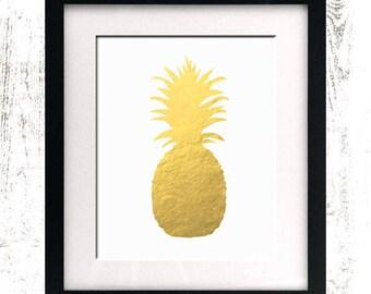 INSTANT DOWNLOAD - Pineapple - Gold Foil Sign - Printable - Gold Pineapple - Home Decor - Pineapple Print - Pineapple Sign