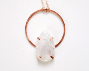 Moonstone Teardrop Hoop Necklace | Moonstone Necklace | Moonstone Jewelry | Stone Necklace | Gemstone Necklace | Circle Necklace | Boho