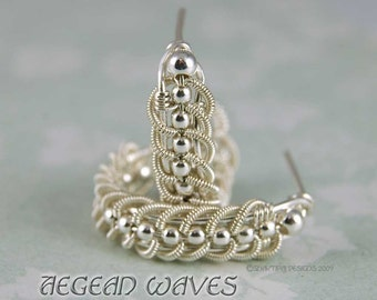 Aegean Waves Silver Coiled Braided Wire Earrings - Instant Download Wire Jewelry Tutorial Instruction PDF