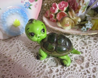 Vintage Porcelain Turtle-Sweet-Japan-Big Eye-Anthropomorphic