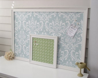 "DAMASK BULLETIN BOARD - Framed Magnetic Memo Board - Deluxe Size 26.5 x 38.5"" with Handmade Frame and Robins Egg Blue Fabric - Message Board"
