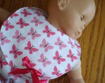 Pink and white Butterflies 15 inch Baby  Doll Clothes Set  1 Bib  1 Diaper